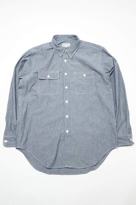 Engineered Garments Cotton Workaday Utility Shirt - Indigo Pinstripe Denim