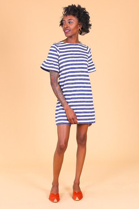 Chinti and Parker Bell Sleeve Shift Dress in Ivory/Indigo