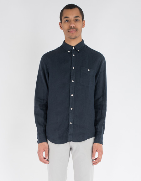No Nationality New Derek Linen Shirt Navy