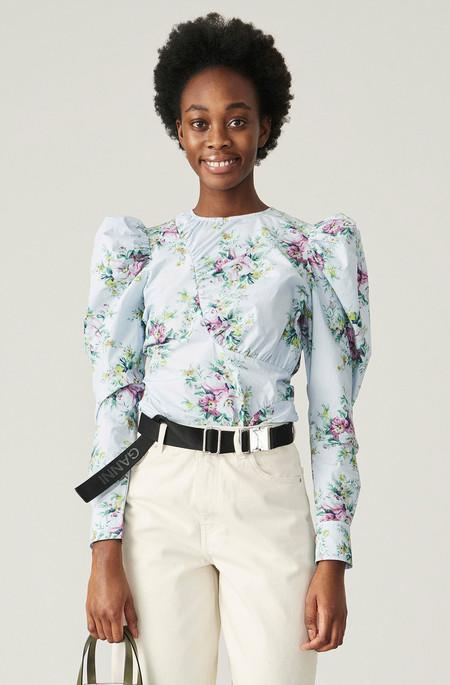 Ganni Puff Sleeve Shirt - Blue Floral
