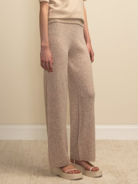 PURECASHMERE NYC Long Straight Fit Pants - Oatmeal