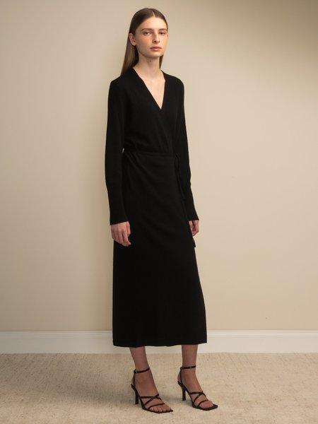PURECASHMERE NYC Maxi Wrap Dress - Black