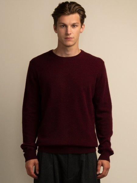 PURECASHMERE NYC Men Crew Neck Sweater - Burgundy