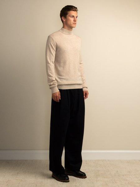 PURECASHMERE NYC Men Mockneck Sweater - Oatmeal
