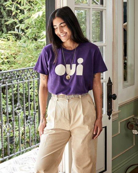 Unisex Clare V. OUI Cut-Out Tee - Iris