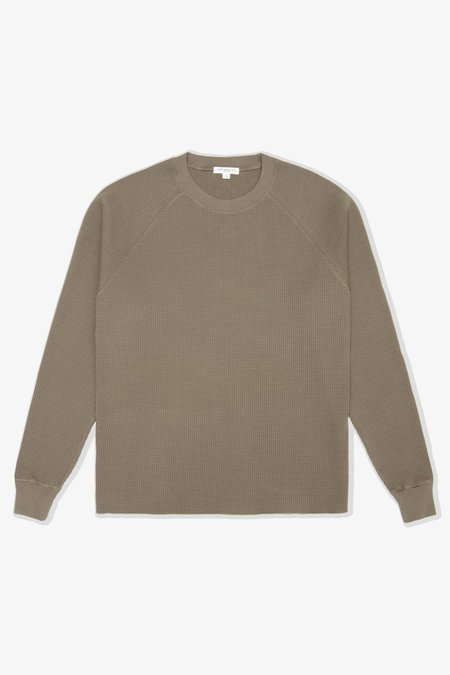 Lady White Co. Cropped Raglan Thermal Sweatshirt  - Deep Cement
