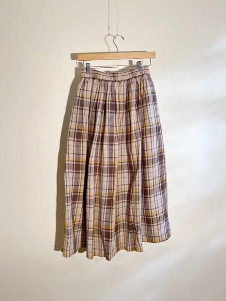 ICHI ANTIQUITES Linen Tartan Skirt - Brown/Mustard