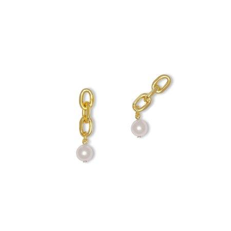 Joomi Lim Asymmetrical Chain Link Earrings - Pearls