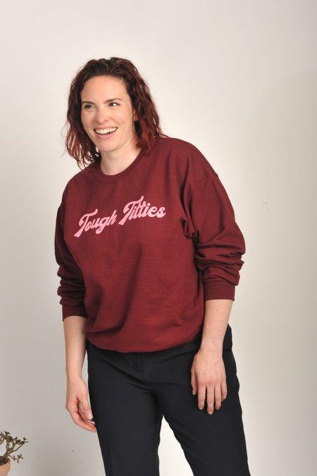 Meg Tough Titties Sweatshirt - Burgundy/Pink