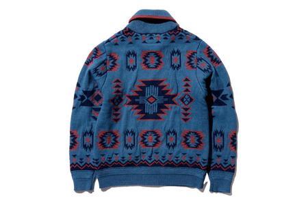 Beams Plus Zip Knit Cardigan - Indigo/Red Jacquard