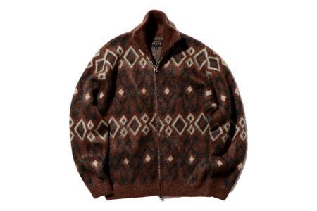 Beams Plus Zip Knit Sweater - Geometric Brown