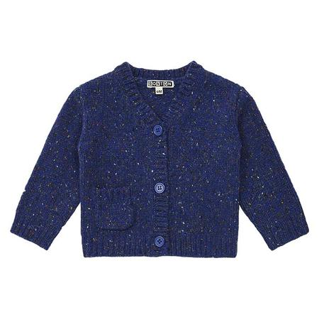 Kids Bonton Baby Mouline Cardigan - Navy Blue