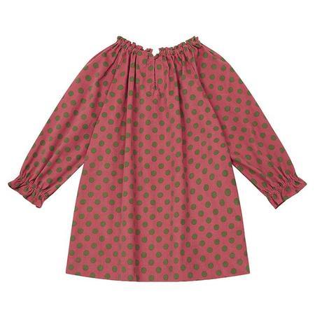 Kids Bonton Child Dahlia Dress - Pink With Green Dots