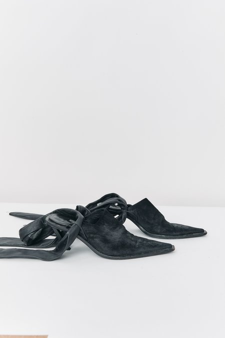 Ann Demeulemeester Suede Mules - Black