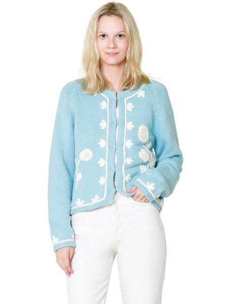 LoveShackFancy Lafayette Cardigan Sweater - Cornflower Blue