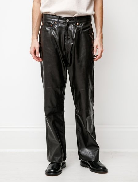 Our Legacy Extended Third Cut Fake Leather Pants - Brown/Black