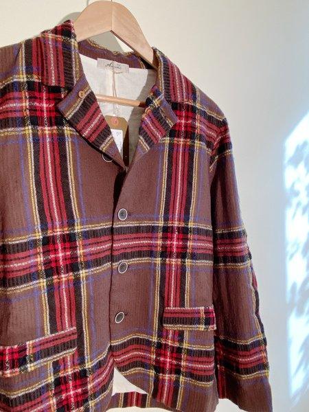 ICHI ANTIQUITES Wool Gauze Tartan Jacket