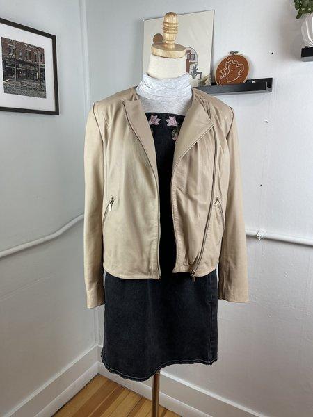 [pre-loved] Mango Leather Biker Jacket  - Tan