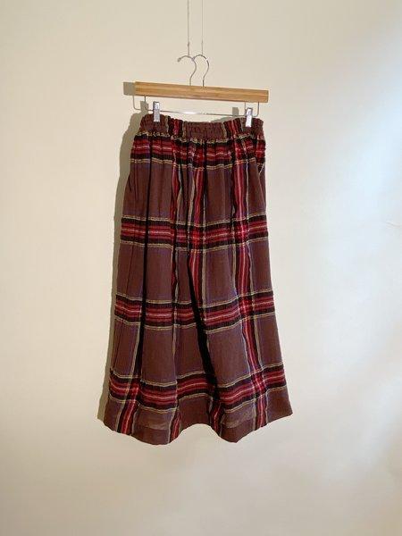 ICHI ANTIQUITES Wool Gauze Tartan Skirt