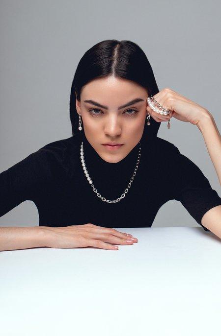 Joomi Lim Asymmetrical Chain Link Earrings W/ Pearls