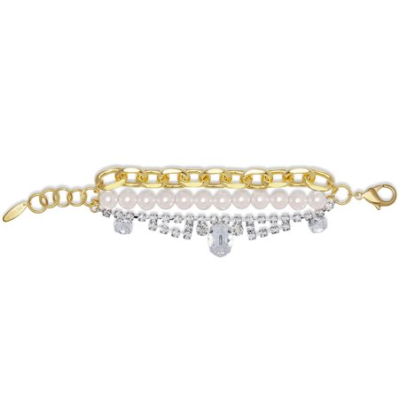 Joomi Lim Chain Crystals and Pearls Bracelet