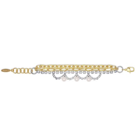 Joomi Lim Double Layered Chain Looped Crystals & Pearls Bracelet
