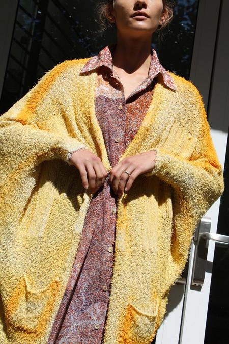 Anntian Handknit Cardigan Dye Yellow
