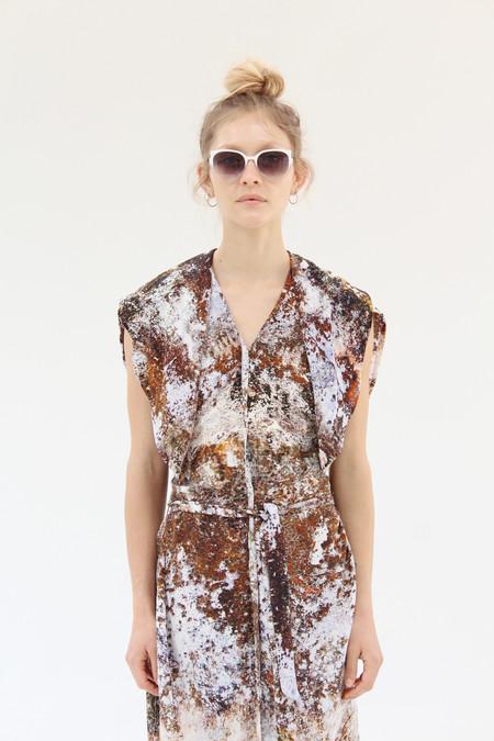 Anntian Long Roundish Silk Dress Print H