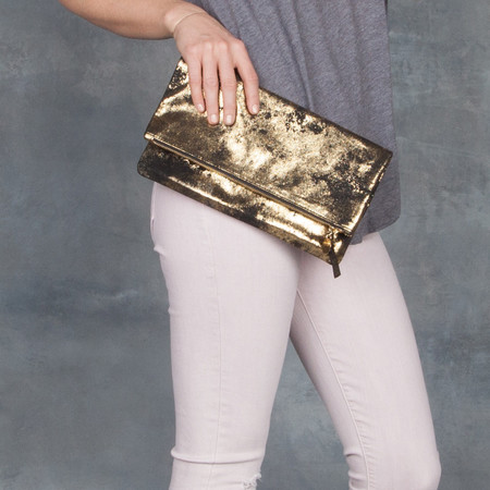 Clare V. Black and Gold Metallic Leather Foldover Clutch
