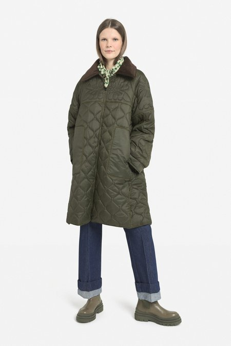 Ottod'ame Quilted Barn Coat - Olive