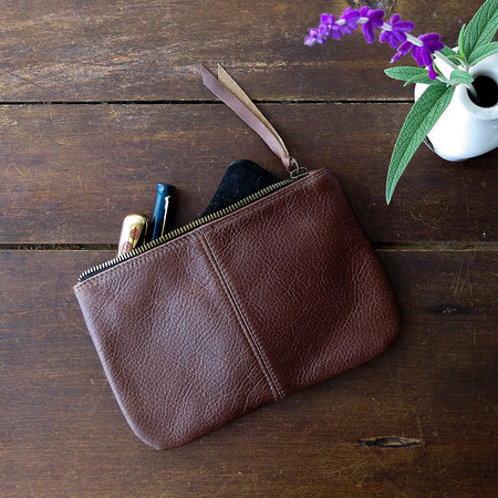 Erica Tanov leather makeup bag
