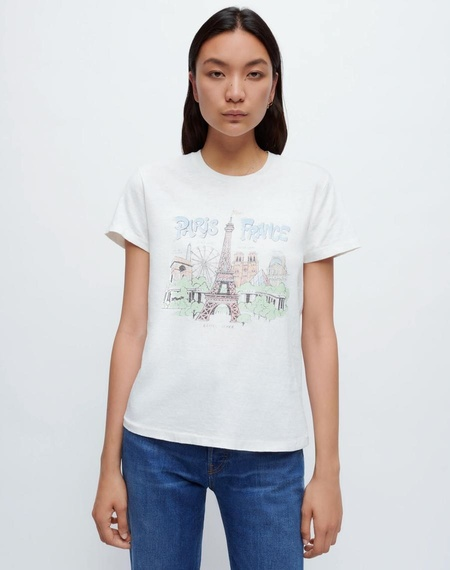 RE/DONE PARIS FRANCE 70S LOOSE TEE - white