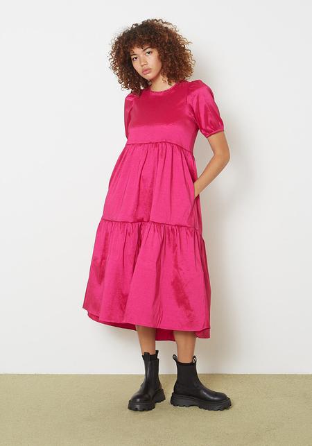 Ali Golden Stretch Ruffle Dress - Hot Pink