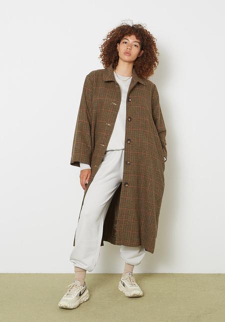 Ali Golden Wool Trench Coat - Herringbone plaid