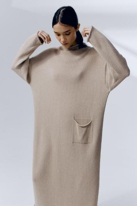 Monica Cordera Baby Alpaca Roll Neck Dress - Pale Olive
