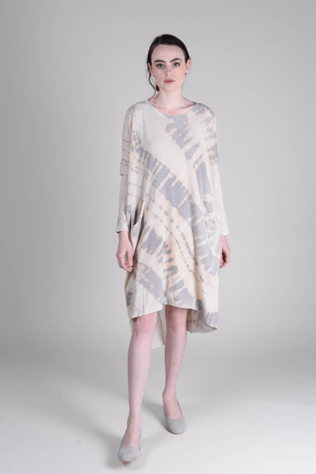 Raquel Allegra Fossil Grey Tie Dye Jersey Oversize Dress