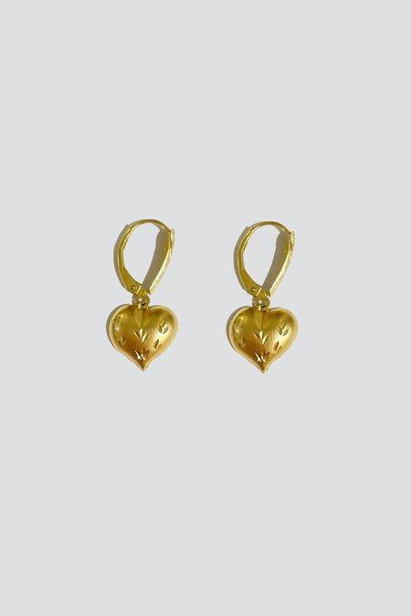 Vintage Puffed Heart Drop Earrings - 14K Gold