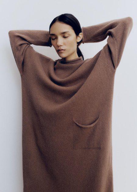 Mónica Cordera Roll Neck Dress - Cognac