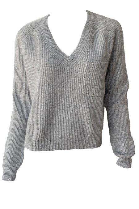 Naadam Cashmere Fisherman V Neck Sweater - Cement