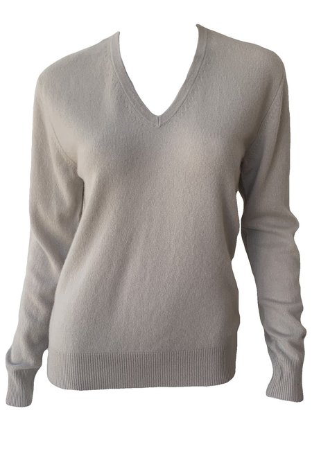 Naadam Cashmere V Neck Pullover - Frost Gray