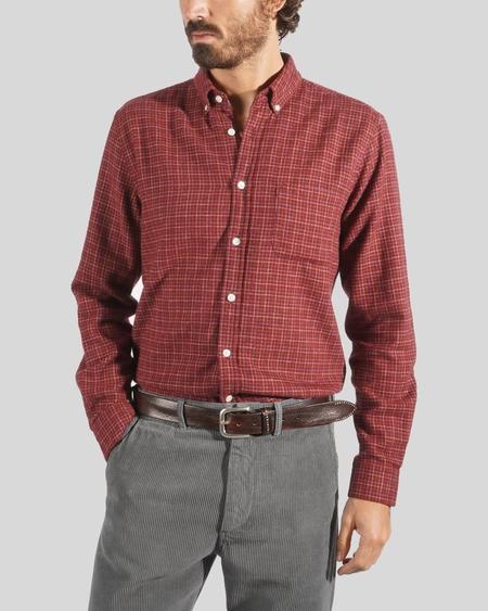 Portuguese Flannel Balcony Shirt - Bordeaux