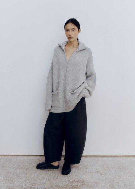 Monica Cordera  Eco Wool Polo Sweater - Silver Grey