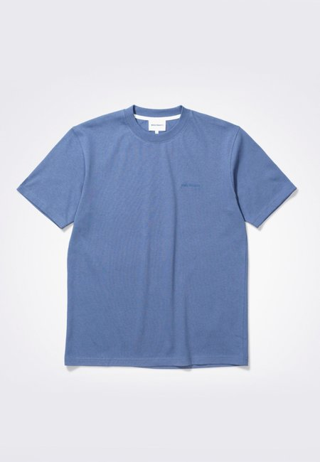 Norse Projects Johannes Heavy Logo T-Shirt - Scoria blue