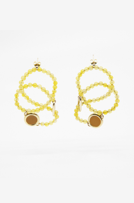 A. Carnevale Beads WIRE BEADED EARRINGS - YELLOW