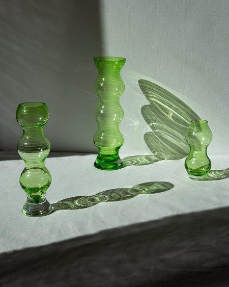 Vintage Curved Form Vase Set - green