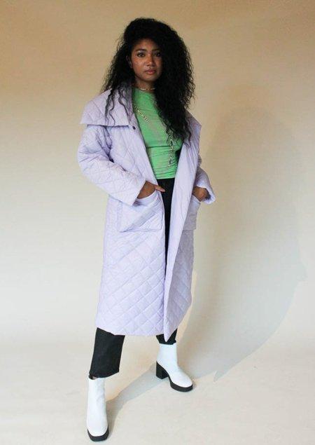 Native Youth Longline Padded Diamond Coat - purple