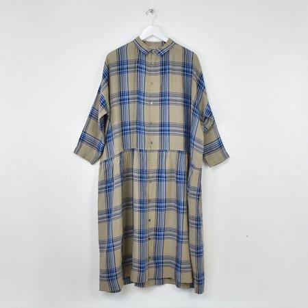 ICHI ANTIQUITES Linen Tartan Shirt Dress - Beige/Navy