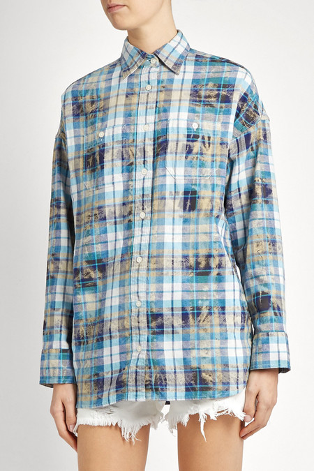 R13 BOY DISTRESSED PLAID COTTON SHIRT