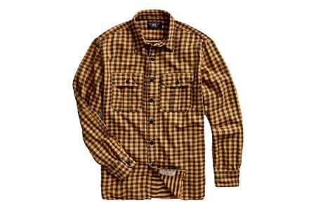 RRL Checked Twill Workshirt - Yellow Black