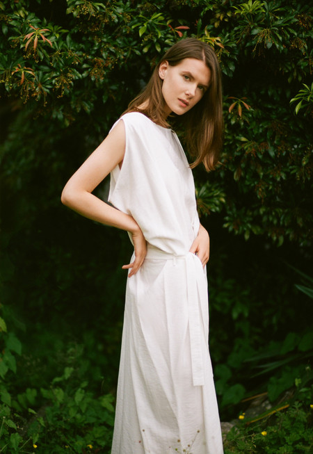 Sunja Link White Draped Dress